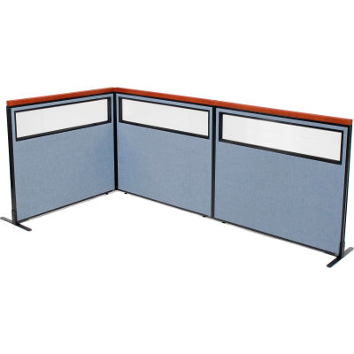 "Interion® Deluxe Freestanding 3-Panel Corner Divider w/Partial Window 48-1/4""W x 43-1/2""H Blue"