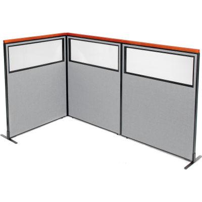 "Interion® Deluxe Freestanding 3-Panel Corner Divider w/Partial Window 48-1/4""W x 61-1/2""H Gray"