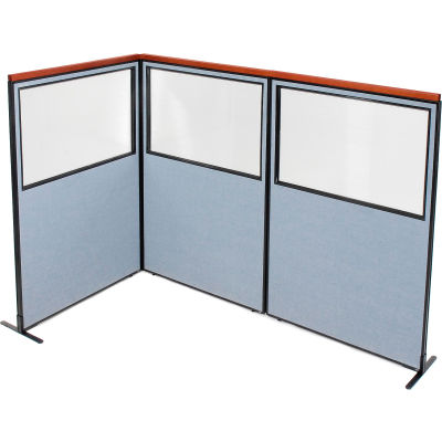 "Interion® Deluxe Freestanding 3-Panel Corner Divider w/Partial Window 48-1/4""W x 73-1/2""H Blue"