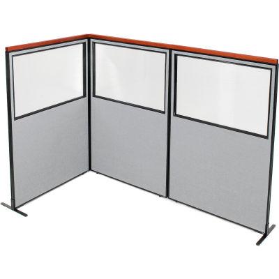 "Interion® Deluxe Freestanding 3-Panel Corner Divider w/Partial Window 48-1/4""W x 73-1/2""H Gray"