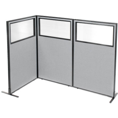 "Interion® Freestanding 3-Panel Corner Room Divider w/Partial Window 36-1/4""W x 60""H Panels Gray"