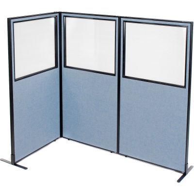 "Interion® Freestanding 3-Panel Corner Room Divider w/Partial Window 36-1/4""W x 72""H Panels Blue"