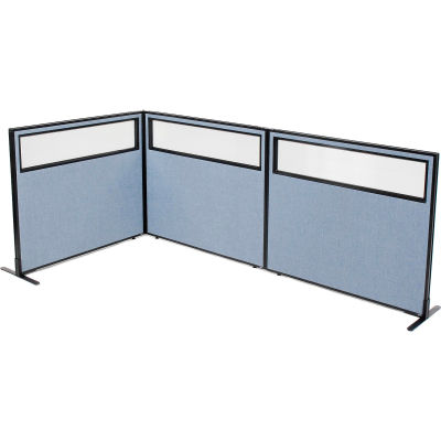 "Interion® Freestanding 3-Panel Corner Room Divider w/Partial Window 48-1/4""W x 42""H Panels Blue"
