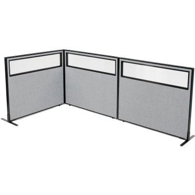 "Interion® Freestanding 3-Panel Corner Room Divider w/Partial Window 48-1/4""W x 42""H Panels Gray"