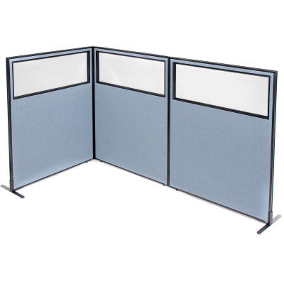"Interion® Freestanding 3-Panel Corner Room Divider w/Partial Window 48-1/4""W x 60""H Panels Blue"