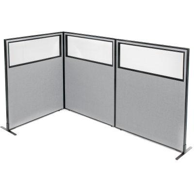 "Interion® Freestanding 3-Panel Corner Room Divider w/Partial Window 48-1/4""W x 60""H Panels Gray"