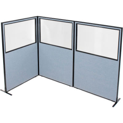 "Interion® Freestanding 3-Panel Corner Room Divider w/Partial Window 48-1/4""W x 72""H Panels Blue"