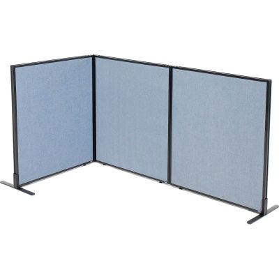 "Interion® Freestanding 3-Panel Corner Room Divider, 36-1/4""W x 42""H Panels, Blue"