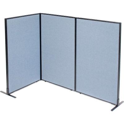 "Interion® Freestanding 3-Panel Corner Room Divider, 36-1/4""W x 60""H Panels, Blue"