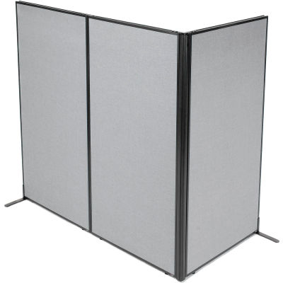 "Interion® Freestanding 3-Panel Corner Room Divider, 36-1/4""W x 72""H Panels, Gray"