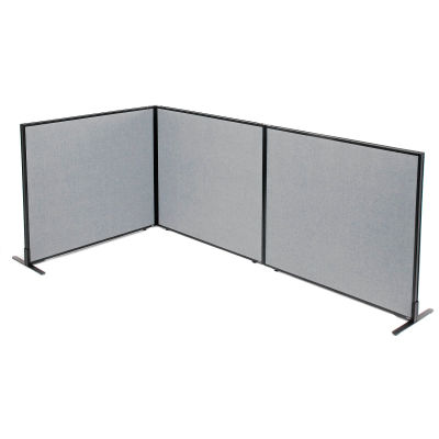 "Interion® Freestanding 3-Panel Corner Room Divider, 48-1/4""W x 42""H Panels, Gray"