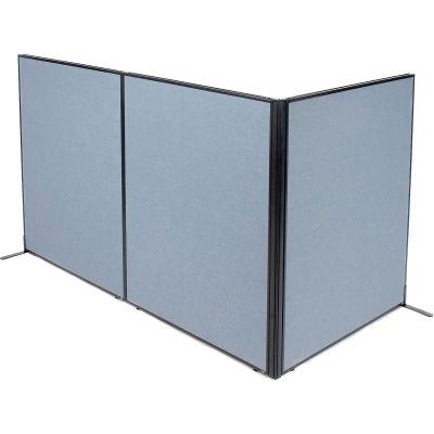 "Interion® Freestanding 3-Panel Corner Room Divider, 48-1/4""W x 60""H Panels, Blue"