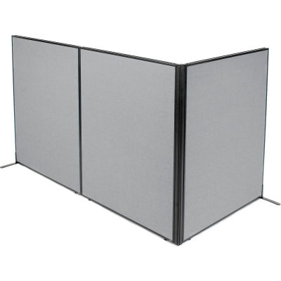 "Interion® Freestanding 3-Panel Corner Room Divider, 48-1/4""W x 60""H Panels, Gray"