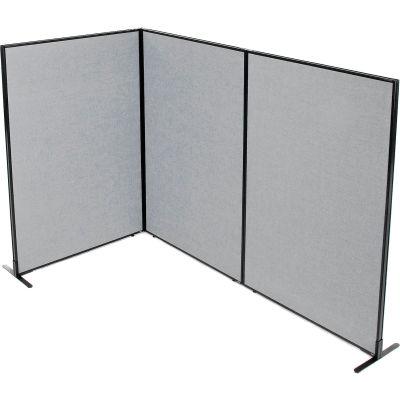 "Interion® Freestanding 3-Panel Corner Room Divider, 48-1/4""W x 72""H Panels, Gray"