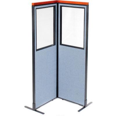"Interion® Deluxe Freestanding 2-Panel Corner Divider w/Partial Window 24-1/4""W x 73-1/2""H Blue"
