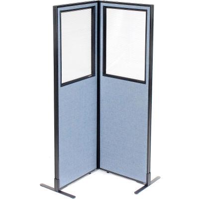 "Interion® Freestanding 2-Panel Corner Room Divider w/Partial Window 24-1/4""W x 72""H Panels Blue"