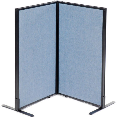 "Interion® Freestanding 2-Panel Corner Room Divider, 24-1/4""W x 42""H Panels, Blue"