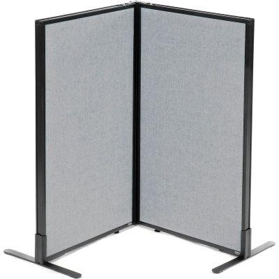 "Interion® Freestanding 2-Panel Corner Room Divider, 24-1/4""W x 42""H Panels, Gray"