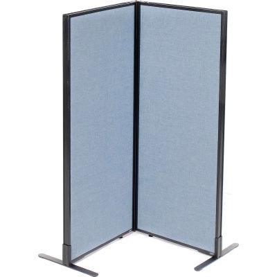 "Interion® Freestanding 2-Panel Corner Room Divider, 24-1/4""W x 60""H Panels, Blue"