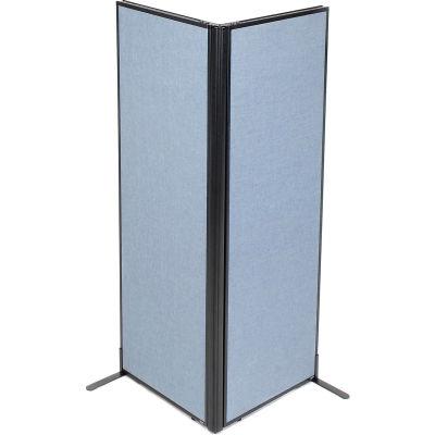 "Interion® Freestanding 2-Panel Corner Room Divider, 24-1/4""W x 72""H Panels, Blue"