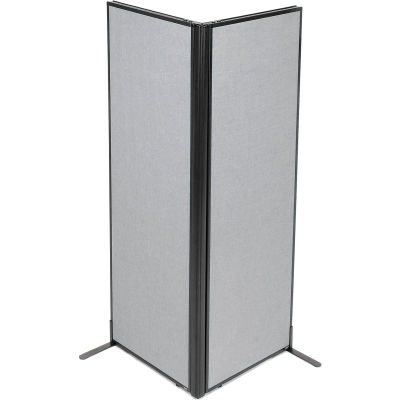 "Interion® Freestanding 2-Panel Corner Room Divider, 24-1/4""W x 72""H Panels, Gray"