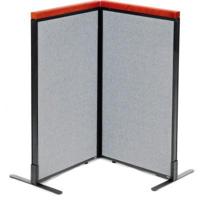 "Interion® Deluxe Freestanding 2-Panel Corner Room Divider, 24-1/4""W x 43-1/2""H Panels, Gray"