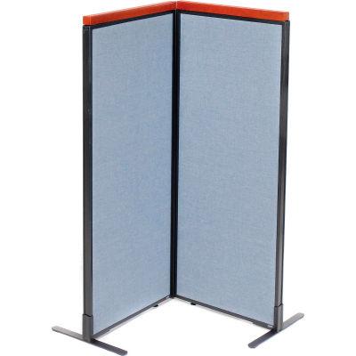 "Interion® Deluxe Freestanding 2-Panel Corner Room Divider, 24-1/4""W x 61-1/2""H Panels, Blue"