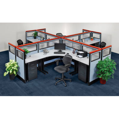 Interion® Pre-Configured 4 Person Office Cubicle