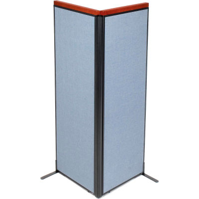 "Interion® Deluxe Freestanding 2-Panel Corner Room Divider, 24-1/4""W x 73-1/2""H Panels, Blue"