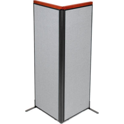 "Interion® Deluxe Freestanding 2-Panel Corner Room Divider, 24-1/4""W x 73-1/2""H Panels, Gray"