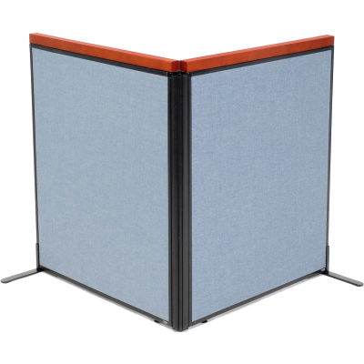 "Interion® Deluxe Freestanding 2-Panel Corner Room Divider, 36-1/4""W x 43-1/2""H Panels, Blue"
