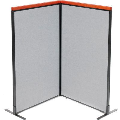 "Interion® Deluxe Freestanding 2-Panel Corner Room Divider, 36-1/4""W x 61-1/2""H Panels, Gray"