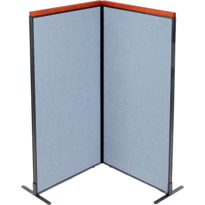 "Interion® Deluxe Freestanding 2-Panel Corner Room Divider, 36-1/4""W x 73-1/2""H Panels, Blue"