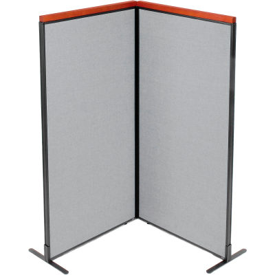 "Interion® Deluxe Freestanding 2-Panel Corner Room Divider, 36-1/4""W x 73-1/2""H Panels, Gray"