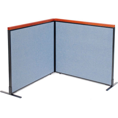 "Interion® Deluxe Freestanding 2-Panel Corner Room Divider, 48-1/4""W x 43-1/2""H Panels, Blue"