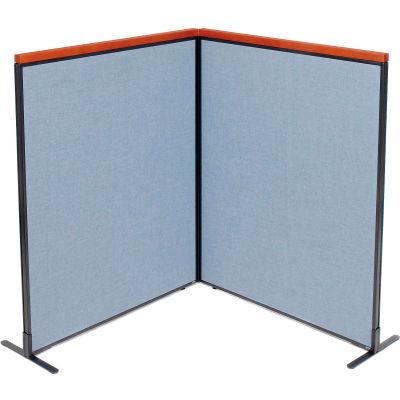 "Interion® Deluxe Freestanding 2-Panel Corner Room Divider, 48-1/4""W x 61-1/2""H Panels, Blue"