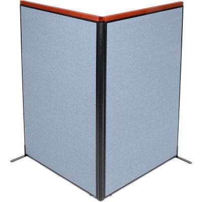 "Interion® Deluxe Freestanding 2-Panel Corner Room Divider, 48-1/4""W x 73-1/2""H Panels, Blue"