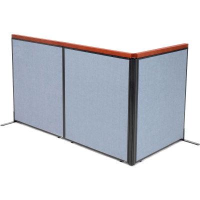 "Interion® Deluxe Freestanding 3-Panel Corner Room Divider, 36-1/4""W x 43-1/2""H Panels, Blue"