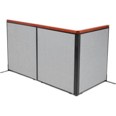 "Interion® Deluxe Freestanding 3-Panel Corner Room Divider, 36-1/4""W x 43-1/2""H Panels, Gray"