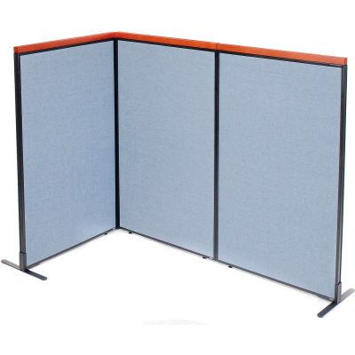 "Interion® Deluxe Freestanding 3-Panel Corner Room Divider, 36-1/4""W x 61-1/2""H Panels, Blue"