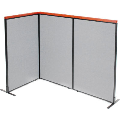 "Interion® Deluxe Freestanding 3-Panel Corner Room Divider, 36-1/4""W x 61-1/2""H Panels, Gray"