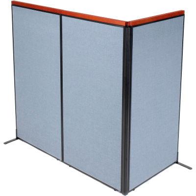 "Interion® Deluxe Freestanding 3-Panel Corner Room Divider, 36-1/4""W x 73-1/2""H Panels, Blue"