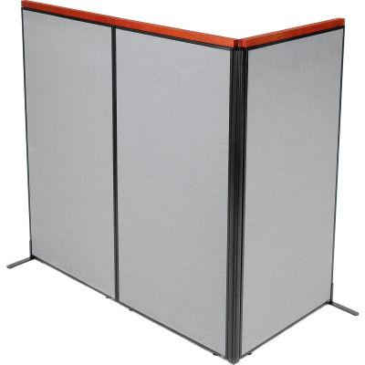 "Interion® Deluxe Freestanding 3-Panel Corner Room Divider, 36-1/4""W x 73-1/2""H Panels, Gray"