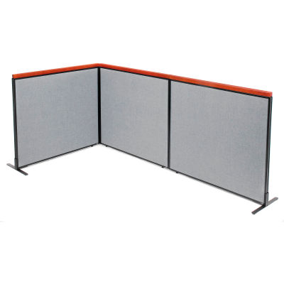 "Interion® Deluxe Freestanding 3-Panel Corner Room Divider, 48-1/4""W x 43-1/2""H Panels, Gray"