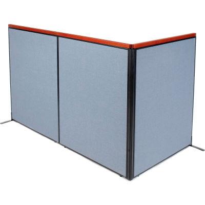 "Interion® Deluxe Freestanding 3-Panel Corner Room Divider, 48-1/4""W x 61-1/2""H Panels, Blue"