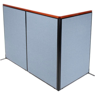 "Interion® Deluxe Freestanding 3-Panel Corner Room Divider, 48-1/4""W x 73-1/2""H Panels, Blue"