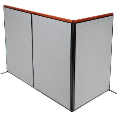 "Interion® Deluxe Freestanding 3-Panel Corner Room Divider, 48-1/4""W x 73-1/2""H Panels, Gray"