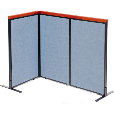 "Interion® Deluxe Freestanding 3-Panel Corner Room Divider, 24-1/4""W x 43-1/2""H Panels, Blue"