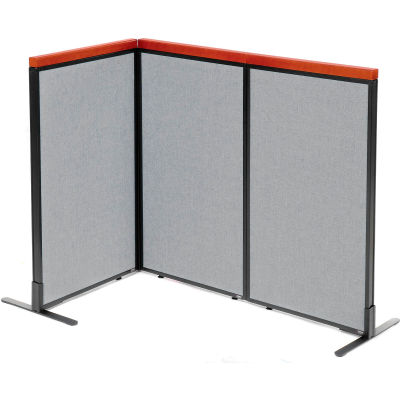 "Interion® Deluxe Freestanding 3-Panel Corner Room Divider, 24-1/4""W x 43-1/2""H Panels, Gray"