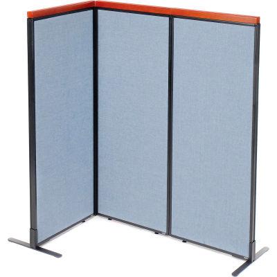 "Interion® Deluxe Freestanding 3-Panel Corner Room Divider, 24-1/4""W x 61-1/2""H Panels, Blue"